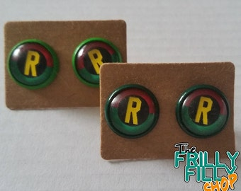 Batman Robin earrings cabochon
