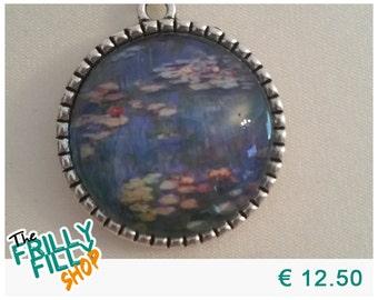 Claude Monet Water Lillies Cabochon Necklace