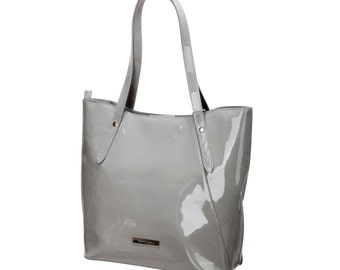 Women's shoulder bag-patent grey leather-stylish handbag