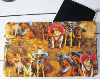 "Zippered Pouch, Quilted Tablet Case - ""Cowboy Dogs"" #998998 Ready To Ship in 1 Business Day"
