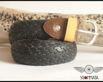 Recycled bike tire/belt/buckle in steel antique//passer-by and reggi leather buckle//made in Italy//art.042