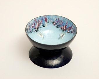 Pretty Pale Blue Vintage German Copper Enamel Footed Bowl