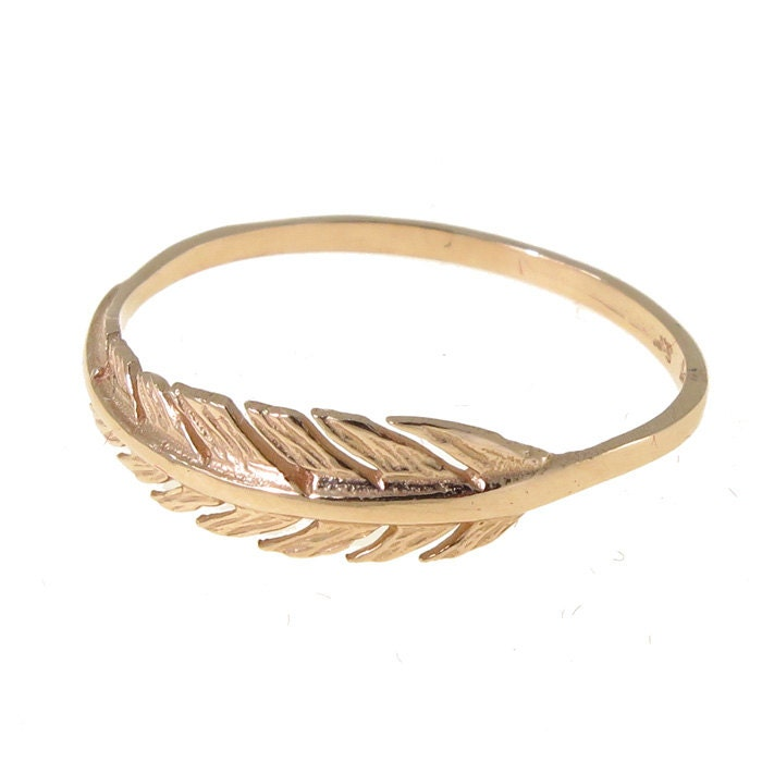 gold feather ring feather gold ring 14k gold ring dainty