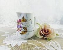Vintage Bohemia creamer, Violets creamer, gold lettering, shabby chic creamer, shabby chic vase, cottage chic storage, vanity container