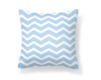 Throw Pillow Chevron, Decroative Pillow, Chevron Pillow, White chevron, blue chevron, white pillow, blue pillow, baby blue pillow