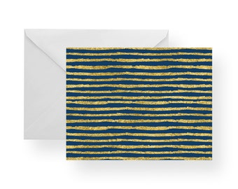 Note Cards Navy and Gold Stripe (Set), stationery, stripe note cards, gold note cards, navy note cards, folded cards
