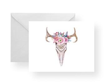 Note Cards Animal Skull + Flowers - 1 (Set), stationery, folded cards, flowers, skulls, note card set, stationery set