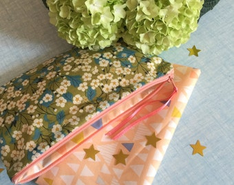 kit/cover/door Mint green anise Liberty floral geometric printed salmon pink lining