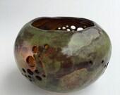 Beautiful Mottle Green and Red Iron Oxide Small Glazed Pinch Pot Ceramic Stoneware Lantern