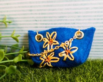 OOAK Hand Embroidered Miniature Handbag doll accessories felt gold chains embellishment girly fashion pullip barbie monster high blythe