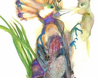 """special Beautiful Colorful mother hoopoe bird feeding its chick Original  Modern wall art home Déco Watercolor Painting Art  Print - 9x13"""""""