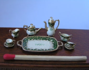 Hand-Painted 1/24th Scale Dollshouse Miniature Tea Set - Dark Green