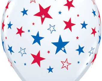 "11"" Star Balloons, 11"" Balloons, USA Balloons, Party, Party Decor, USA, America, Birthday, Wedding, Latex Balloon, 4th of July, Cookout"