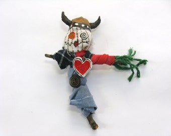 Viking Hat Voodoo Doll, Outsider Art, Birthday Gift, Naive Art, Poppet or Pin Doll, Mixed Media Figure