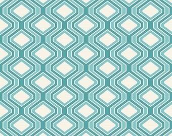 "Riley Blake  by Lila Tueller  Decorator width  ""Diamonds""  Aqua   Cotton Duck"