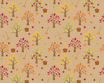 "Riley Blake designs  ""Happy Harvest""  Orchard  Doodlebug designs Brown Cotton Fabric"