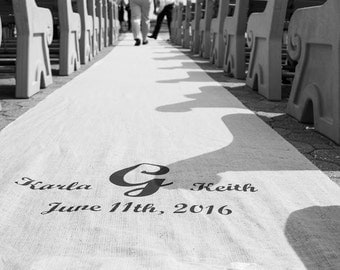 40-50 ft Custom Burlap Wedding Aisle Runner with Initials