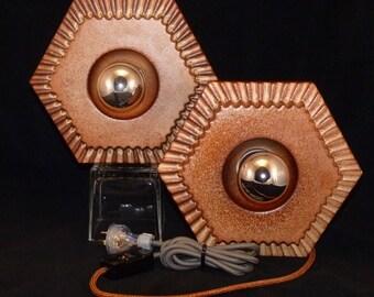 Vintage German Hexagonal Wandelamp Wand-Element Brick Style Wall Sconces/ Table Lamps