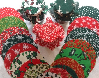 jam covers Xmas Mix  Fabric lid top covers + Bands & sticky jar label X 20.  3 sizes avalible