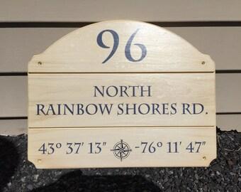 Custom Address Nautical Coordinates House Sign