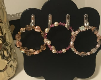 Pink Crystal and Pearl Bracelet Trio