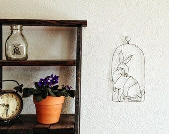 Handcrafted Wire Art - Wire Rabbit Sculpture