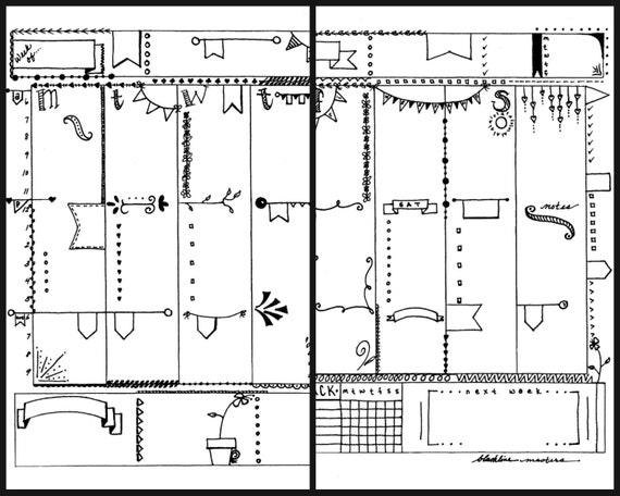 Bullet Journal Printable Planner Inserts I Heart Flags