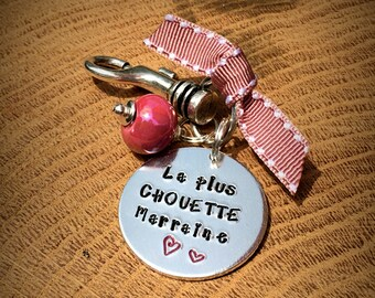 Hand Stamped La Plus Chouette Marraine? Personalised Message French Keyring