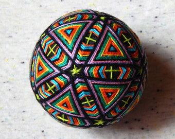 "Temari Ball ""Rainbow Sky"" Handmade Embroidery Psychedelic Home Decor Crafts"