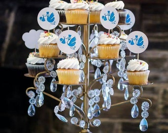 12 Stork Cupcake Toppers