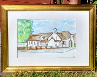 Custom anniversary picture, church painting, Anniversary painting, custom painting, anniversary gift, 16x12