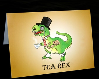 Tea Rex Card, Trex card, Tyrannosaurus Rex card, blank card A5, animal greetings card, trex tophat