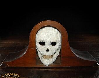 Handmade Button Skull W/Denture Teeth