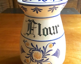 Flour Canister, Dutch Canister, Kitchen Decor, Kitchen Canister, Flour Jar, Dutch Folk Art, Flour , Kitchen Containers, Farmhouse Style