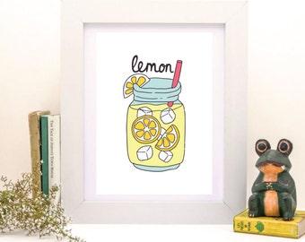 Lemon, Lemonade Print, Lemonade Poster, Lemonade Art, Lemon Art, Lemon Print, Lemon Poster, Wall Decor, Printable Wall Art, Instant Download