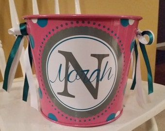 5 Quart Personalized Bucket / Gift Basket / Easter Bucket / Beverage Pail
