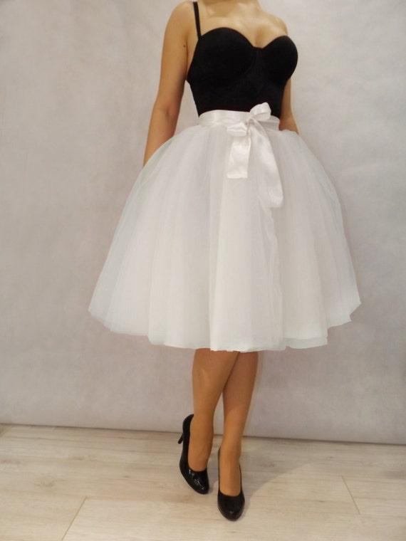 white tulle midi skirt by jankuneu on etsy