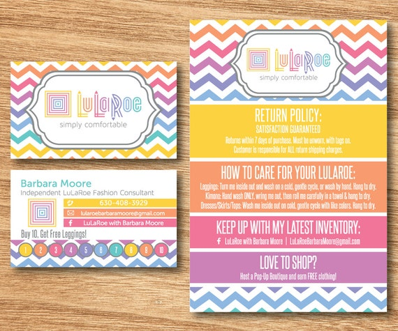 Lularoe business card and care card package by elevencreative for Etsy lularoe business cards