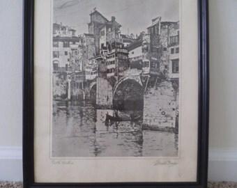 "Joseph Pennell, ""Ponte Vecchio""  Vintage Framed Print"