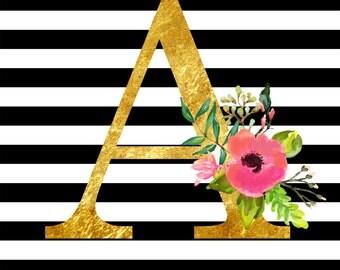 Alphabet, Black White Stripe, Gold Alphabet,Letter Printable,Stripes printable,Book marker,Gold shapes