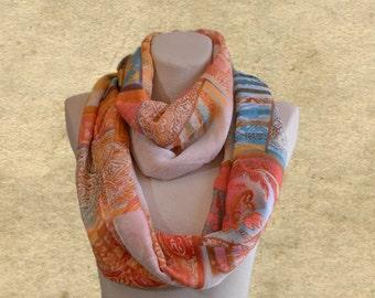 Infinity loop scarf, Trendy womens scarf, Circle fabric scarf, Boho scarf loop, Fall cotton scarf, Big scarf circle, Beige Blue scarf