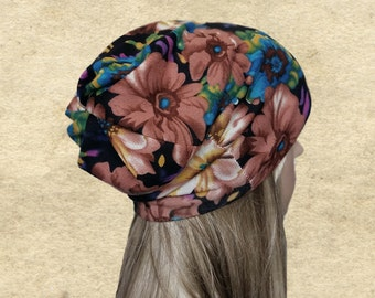 Slouchy fall beanie, Slouch hat women, Women's fabric hat, Flower print hat, Gypsy beanie hat, Hippie  clothing, Gypcy fall clothes