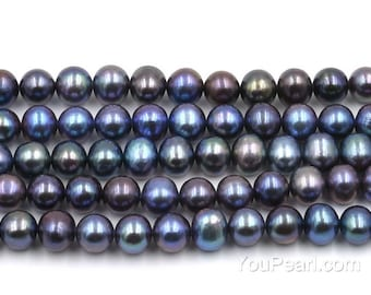 Black pearls, A+ fresh water off round pearl beads, 7-8mm loose pearl, peacock black pearls, natural real pearls, FR400-BS