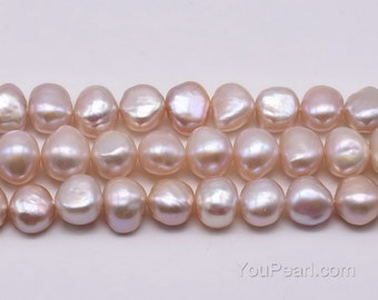 A+ 9-10mm plump pearl, natural lavender purple color genuine freshwater pearl beads, irregular pearls, 2.5mm large hole available, FN650-LS