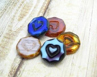 5 x valentine mix czech beads| czech glass beads| vintage style beads | czech lentil beads| glass beads