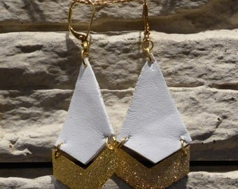 Leather and gold metal - chevron and diamond earrings