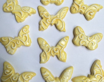 10 Super Cute Yellow And White Ceramic Butterfly Tiles That Can Be Used In Mosaic And Other Mixed Media Projects