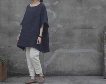 Women Navy Shirt Casual Cotton Shirt Plus Size Top Loose Fitting Clothing