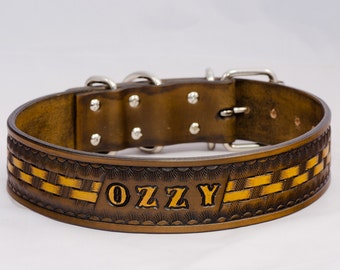 Personalized Leather dog collar / Personalised, colored, top quality dog collar from cowhide with dog name, brown /