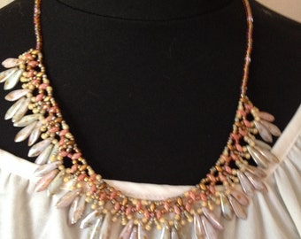 Choker necklace of Czech glass beads, pink cluster bead weaving sometimes bluish, garish